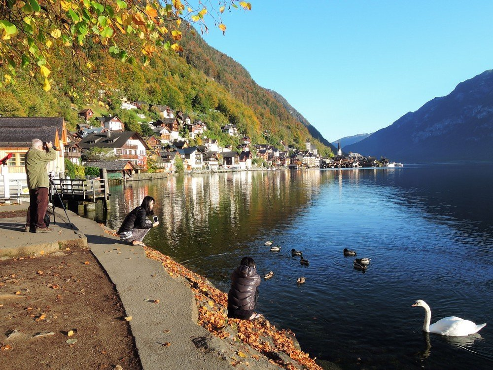 The sublime city of Hallstatt - one of the best stopovers when driving from Vienna to Salzburg.