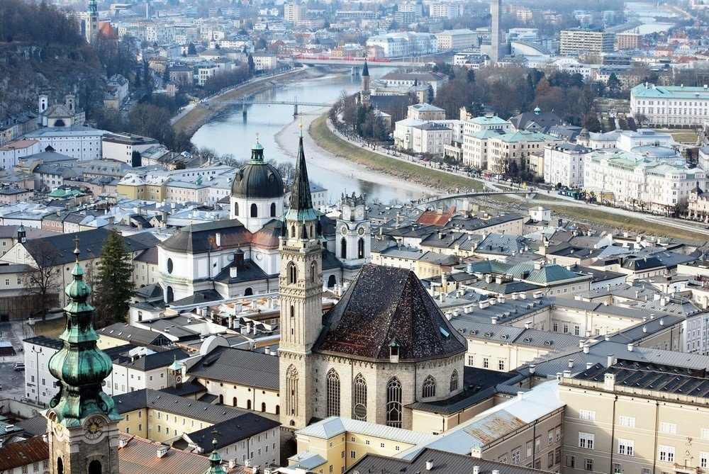 The view of Salzburg - the final destination in this scenic road trip itinerary from Vienna to Salzburg.